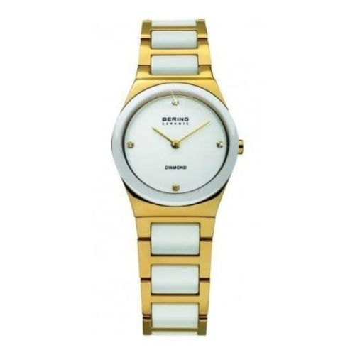 Ladies White Ceramic & GP Steel Two Tone Bracelet Watch