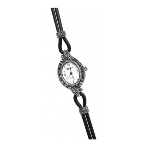 Ladies Black Rubber & Silver Marcasite Cord Watch