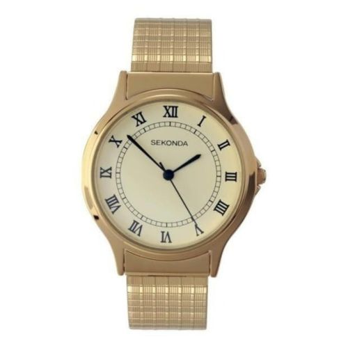 Gents Gold Plated Polished Quartz Analogue Expander Bracelet Watch