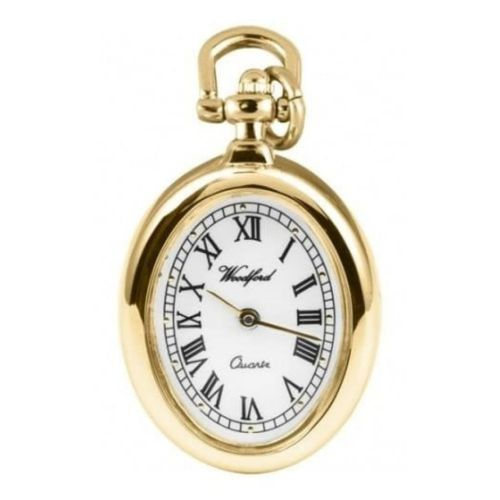 Ladies Oval Quartz Gold Plated Pendant Necklace Watch