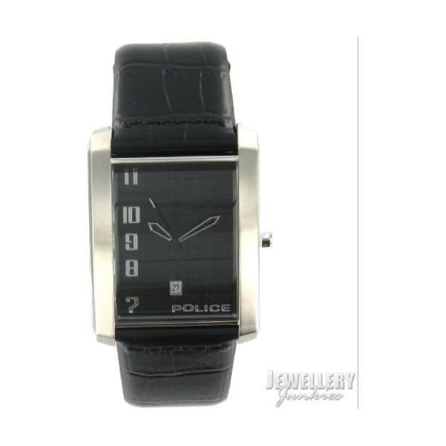 Gents Black Leather Croc Adjustable Strap Watch