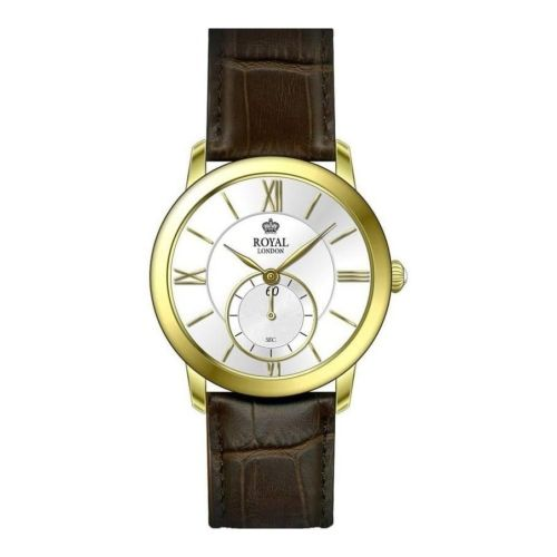 Gents Stainless Steel And Brown Leather Wristwatch