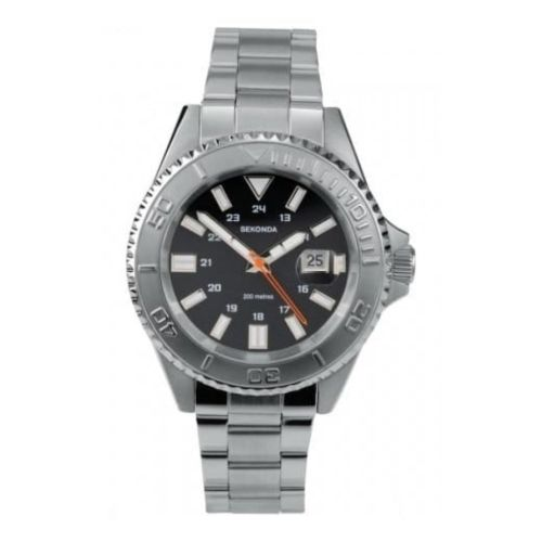 Gents Stainless Steel Watch with Black Dial & Date Window