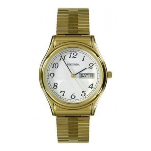 Gents Gold Plated Expandable Stainless Steel Bracelet Watch
