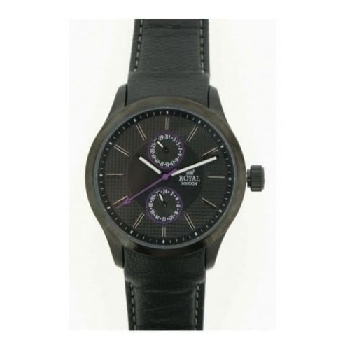 Gents Black Leather With Hour & Date Function Watch