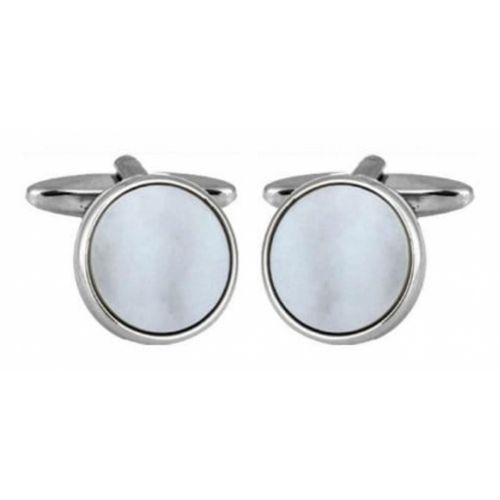 Rhodium Plated Circular Mother of Pearl Cufflinks