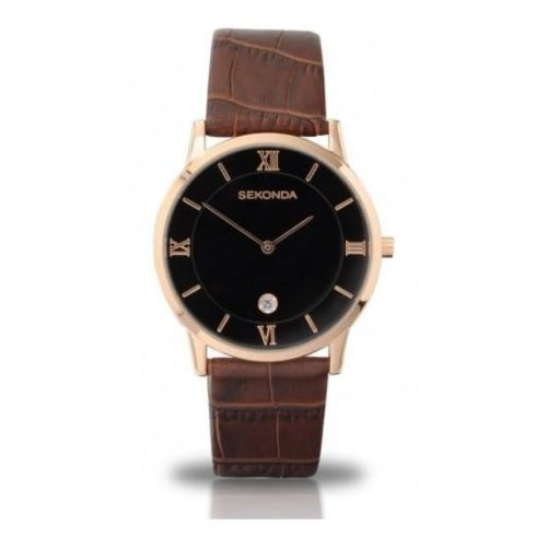 Gents Brown Textured Leather & Rose Gold Numerals Watch