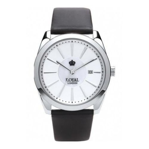 Ladies Black Leather Strap Watch With Silver Dial