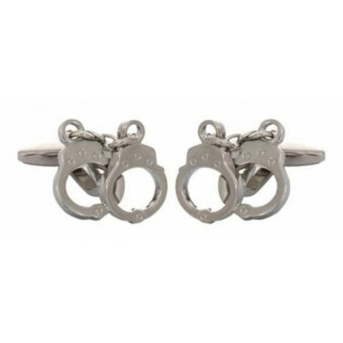 Rhodium Plated Handcuff Cufflinks