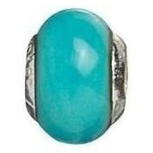 Sterling Silver Turquoise Murano Glass Link