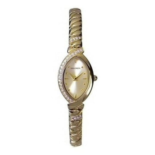 Ladies Gold-plated Stainless Steel Bracelet Watch with Stones