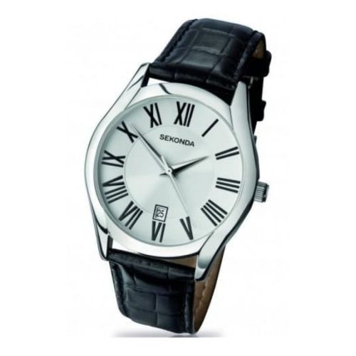 Black Leather Analogue Gents Watch