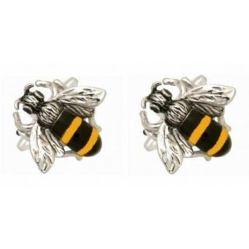Rhodium Plated Bumble Bee Cufflinks