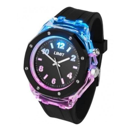Gents Strobe Black Rubber Watch With Light Effect