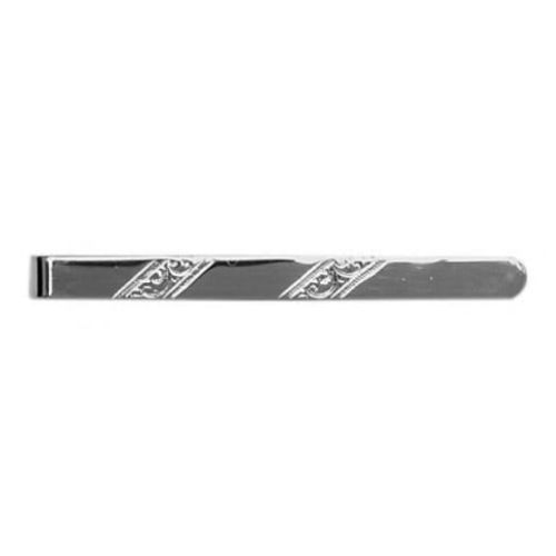 Sterling Silver Diagonal Patterned Tie Bar