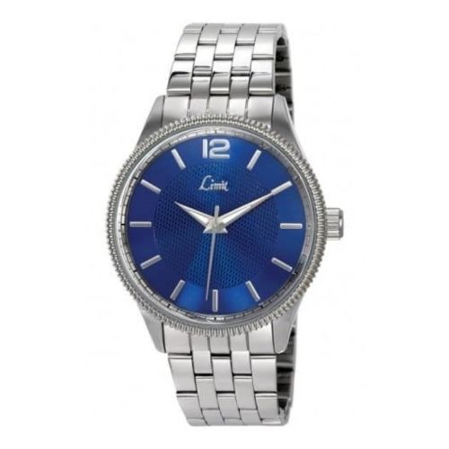 Gents Polished Linked Stainless Steel & Blue Dial Watch