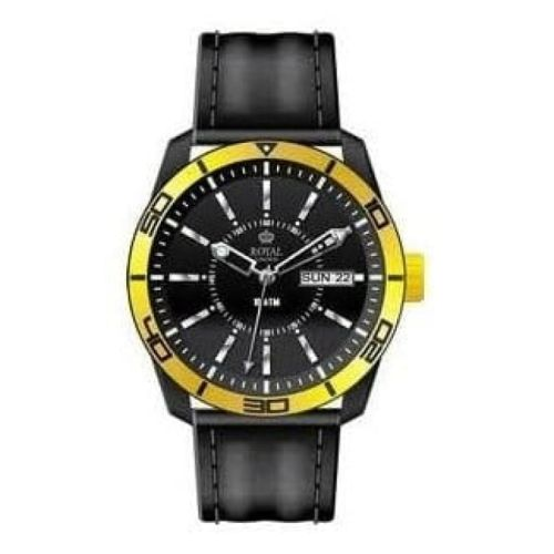 The Challenger Ladies Yellow Bezel Black Leather Watch