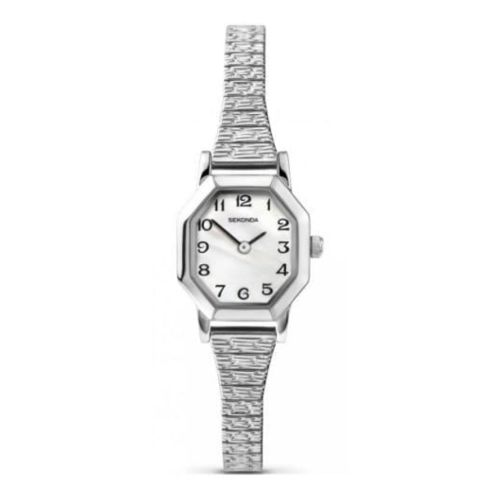 Ladies Stainless Steel Expandable Watch With MOP Dial