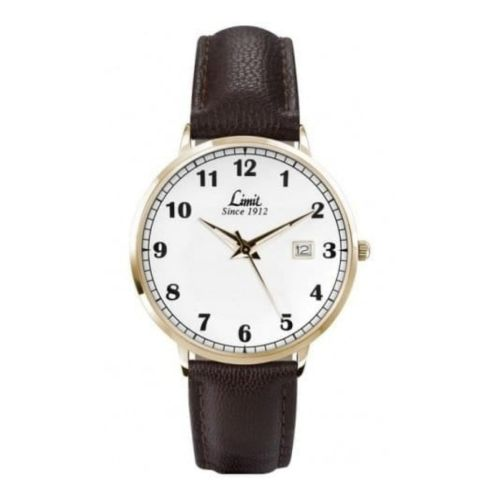 Brown Leather & Gold Steel Case Watch