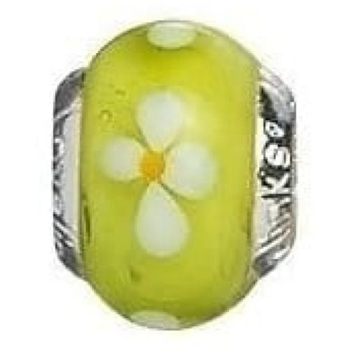 Sterling Silver White Flowers With Lime Murano Glass Link