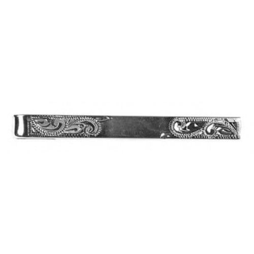 Rhodium Plated Patterned Tie Bar