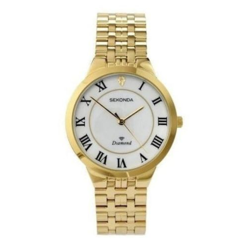 Gents Gold Plated Stainless Steel Watch With Small Diamond