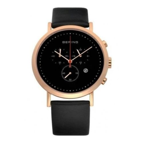 Gents Classic Black Leather & Rose Gold Chronograph Watch