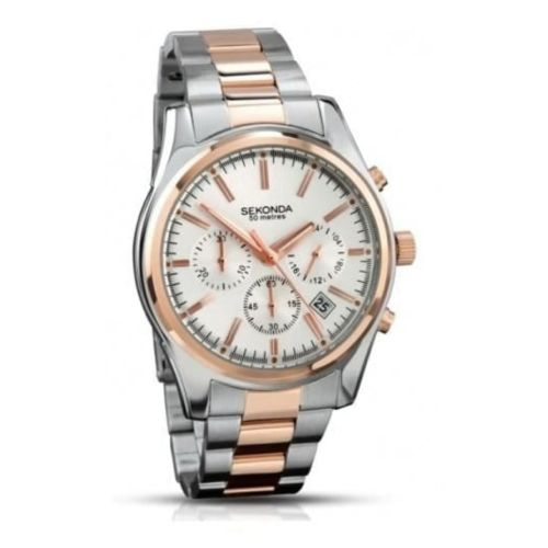 Two Tone Rose Gold Stainless Steel Gents Watch