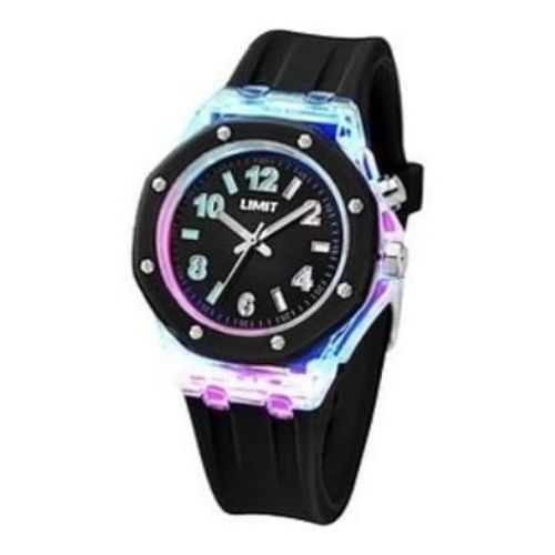 Ladies Strobe Black Rubber Watch With Light Effects