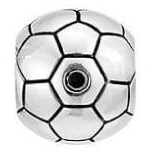 Sterling Silver Football With Black Cz Link
