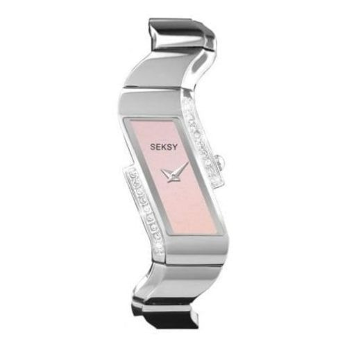 Ladies Wave Polished Stainless Steel Pink Precious Stone Bracelet Watch
