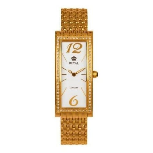 Ladies PVD Gold Plated Stone Encrusted Wristwatch
