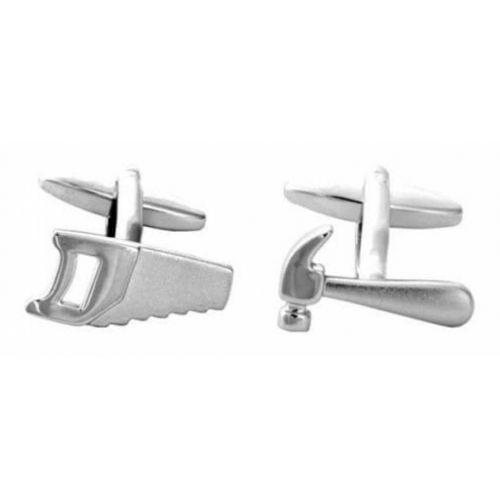 Saw & Hammer Rhodium Plated Cufflinks