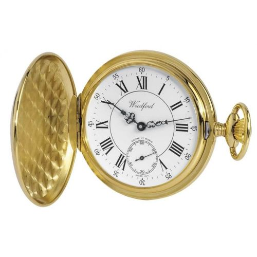 Gold Plated 17 Jewel Swiss Mechanical Full Hunter Pocket Watch Large Dial