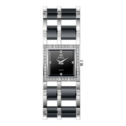 Ladies Stainless Steel Wristwatch with Black Mother Of Pearl Dial