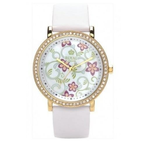 Ladies White Leather Watch With Flowery Dial