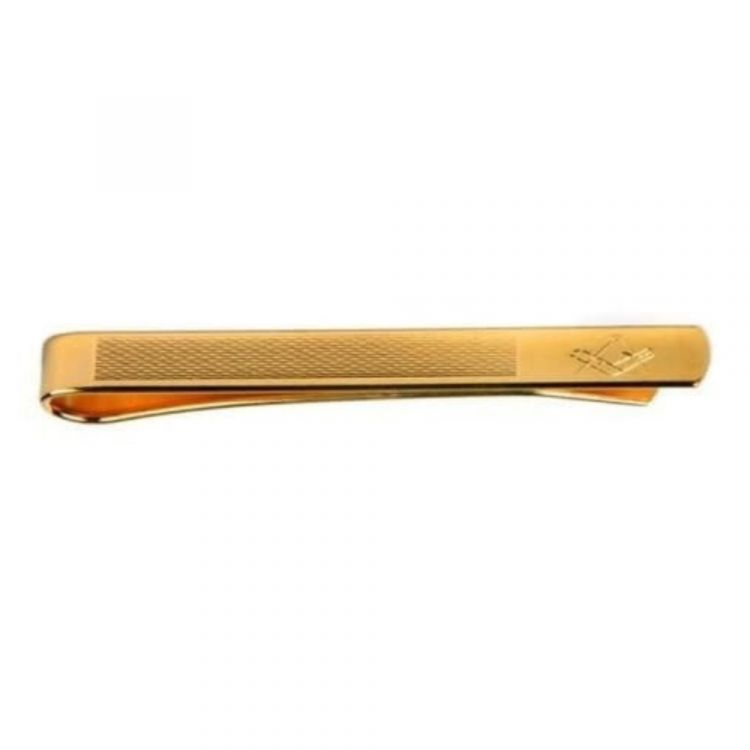 Gold Plated Masonic Engraved & Barley Design Tie Bar