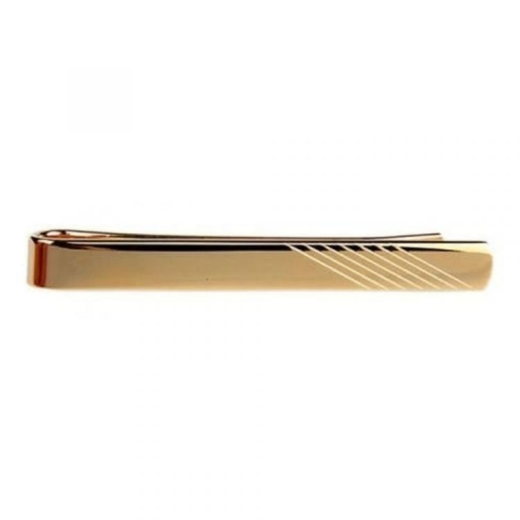 Gold Plated Diagonal Striped Tie Bar