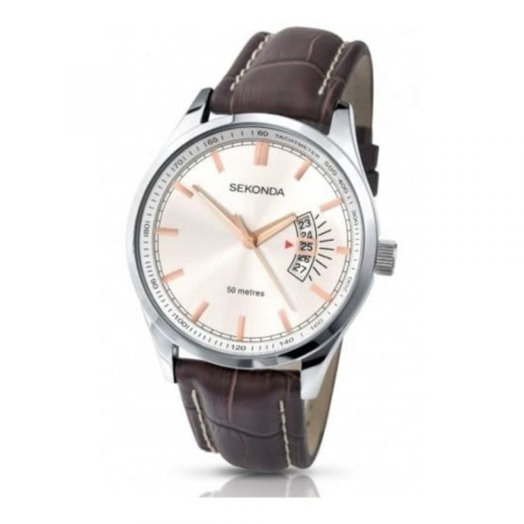 Gents Silver Dial & Brown Leather Strap Watch
