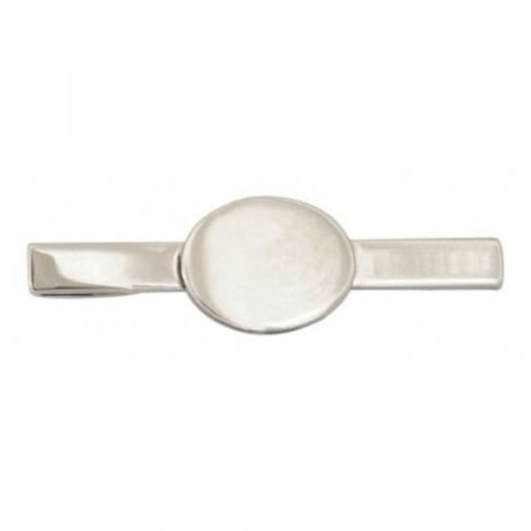 Rhodium Plated Oval Engravable Tie Bar