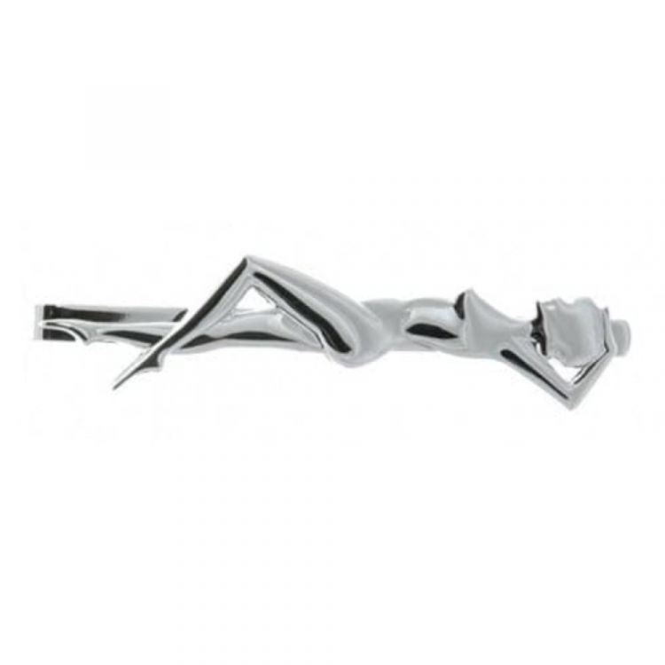 Rhodium Plated Woman Figure Tie Bar