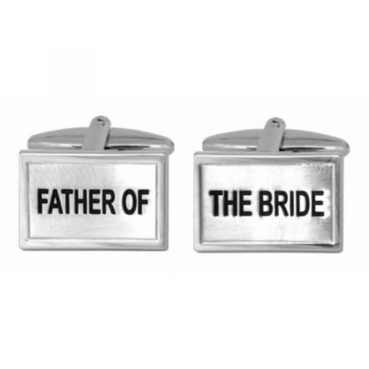 Father Of The Bride Rhodium Plated Cufflinks