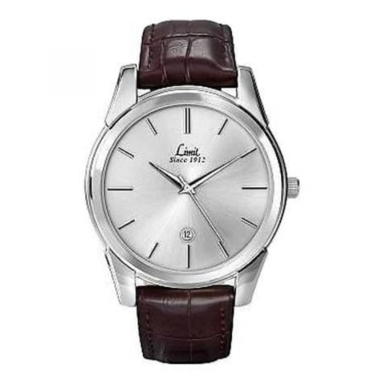 Brown Leather Black Dial Date Display Watch