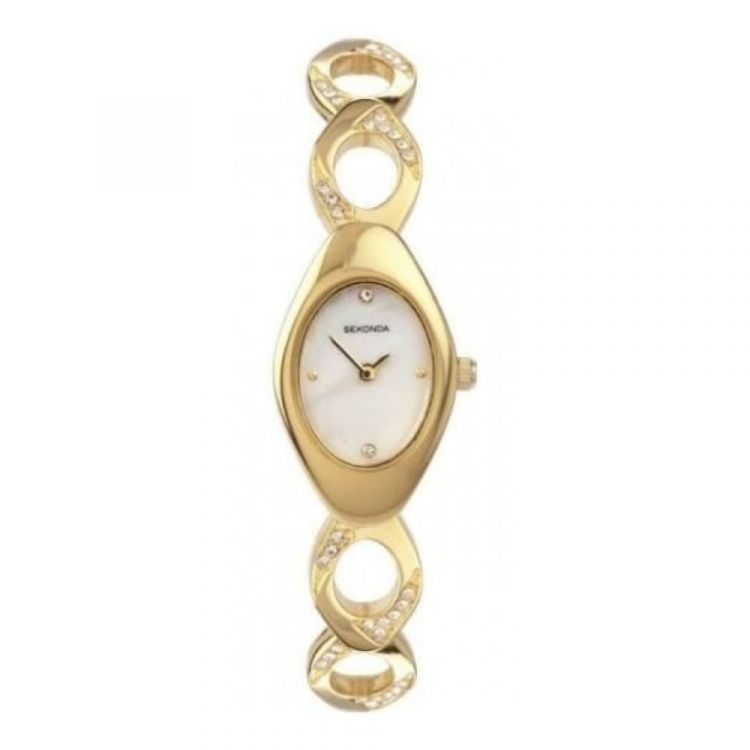Gold Steel Oval Mother of Pearl Watch