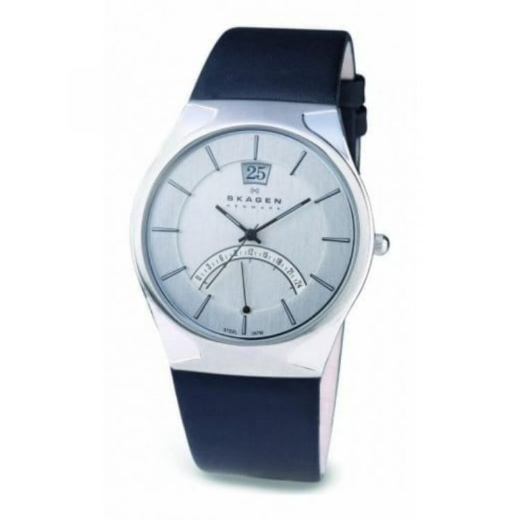 Gents Dual Time Movement Black Leather Strap Watch
