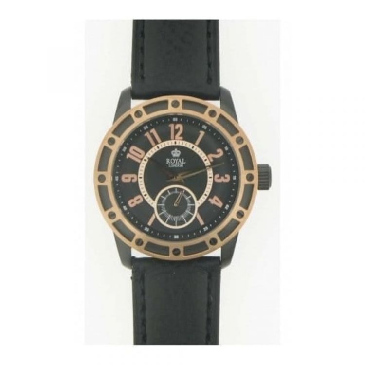 Gents 'The Virtuoso' Black Leather With Rose Gold Watch