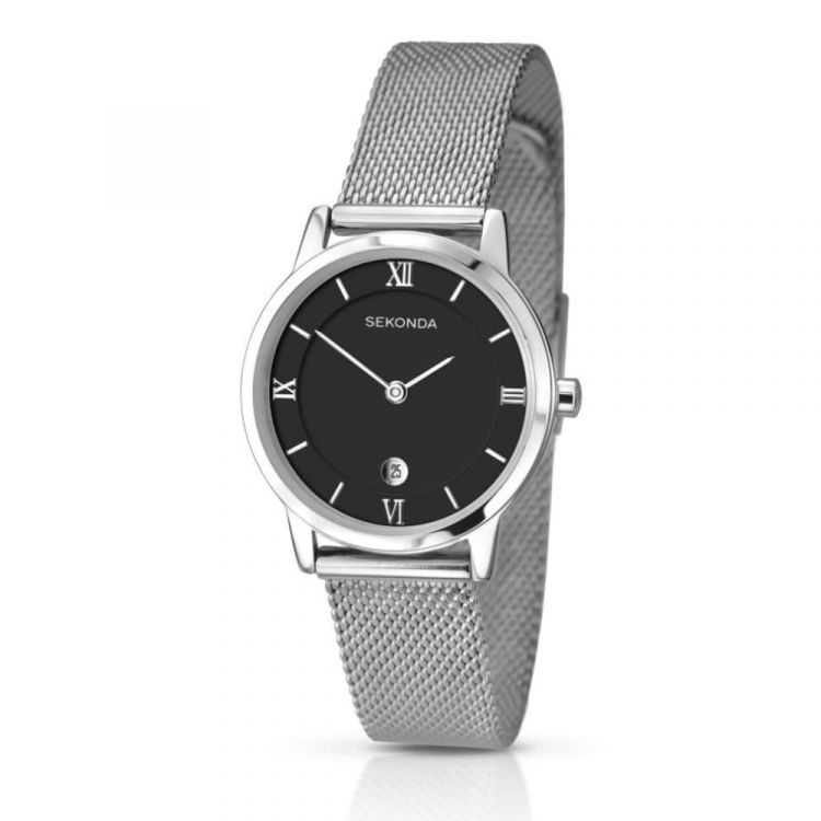 Ladies Black and Silver Tone Wristwatch