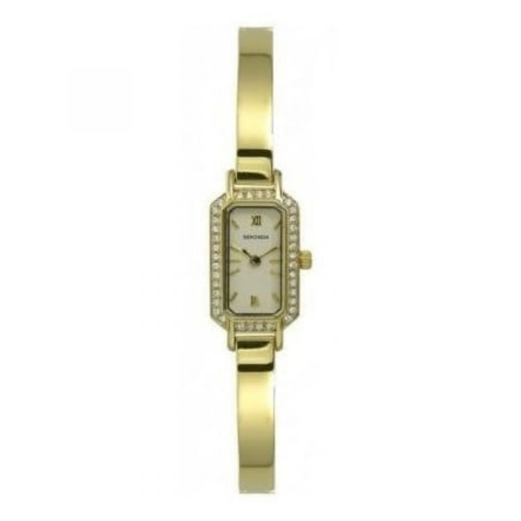 Ladies Polished Gold Plated Crystalised Bracelet Watch