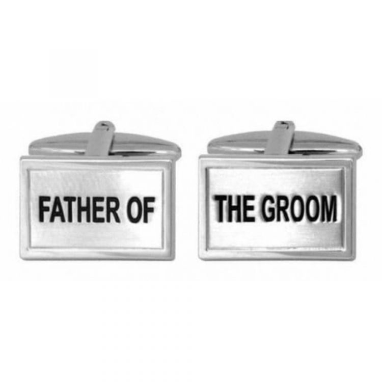 Father Of The Groom Rhodium Plated Cufflinks