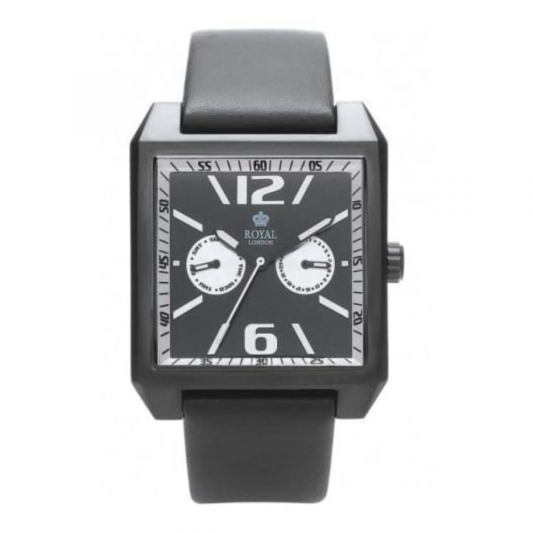 Gents Smooth Black Leather Rectangle Dial Watch